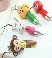 500pcs/lot Wooden cartoon animal carry-on pen ball-point pen