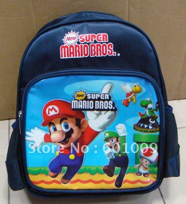 Mochila Criança Bolsa Escola frete grátis EMS nylon de alta qualidade Super Mario Bros atacado(China (Mainland))
