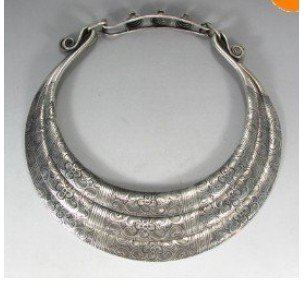 "11""Miao Folk Silver 5 Loops Dragons Necklace chaplet Fashion Free shipping(China (Mainland))"