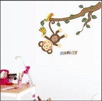 Free shipping,DIY Cute monkey wall stickers, brand new design,fashion home sticker,TC955