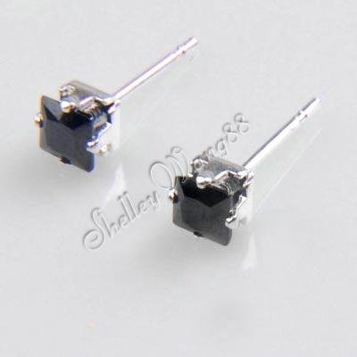 A Pair of Mens Earring Ear Studs Stainless Steel Black Onyx 4 MM Wholesale/Retail(China (Mainland))
