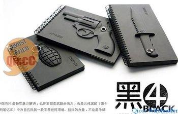 Wholesale 24pc/lot New Arrival Creative revolver gun notebook black,Armed Notebook gun/knife/Grenade 3D[50off EMS]