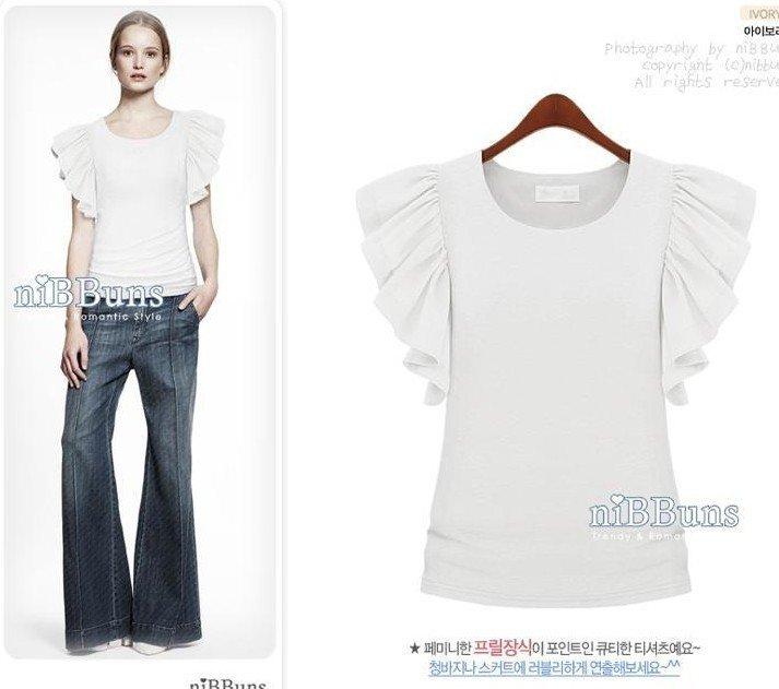 T / T camisa de algodão de moda / lotus das mulheres brancas leavesSleeve confortáveis T camisa 1pcs + Frete Grátis (transporte da gota(China (Mainland))