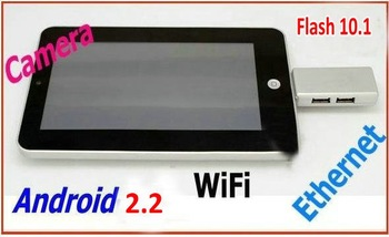Hot sale VIA WM8650 7 inch android 2.2 tablet pc Flash 10.1 WIFI RJ45 LAN USB 3G
