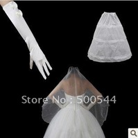 free shipping Three-piece veil gloves petticoat/ball gown petticoat Wedding dress in bustle skirt petticoat bridal gowns 1set