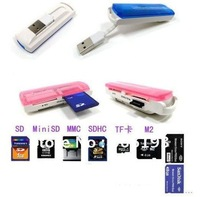 Free shipping wholesale USB Multifunction Card Reader.Memory Card Reader.All in 1.TF/SD/M2/MS.