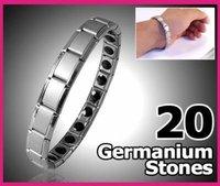 20 super germanium stone stainless steel balance health bracelet with gift box 20pcs/lot