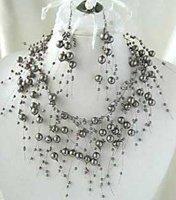Black pearl earrings necklace sets