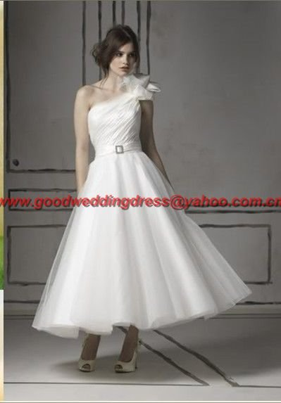 Free shipping One-shoulder Organza Beach short Wedding Dress(China (Mainland))