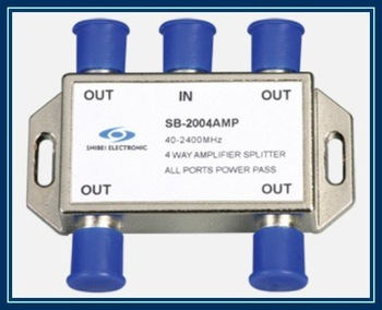 SB-2004AMP all ports single way passing current,10PCS/Lot 4-way SAT signal amplifier splitter,  Free Shipping