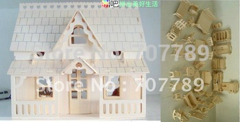 2015 Hot Sale Limited Unisex Wood Arma Toys 3d Puzzle Model, Miniature Doll House+34pcs Furniture Play House Toy free Shipping