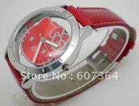 free shipping 10pcs/lot hello kitty watch lady leather watch ODM watch