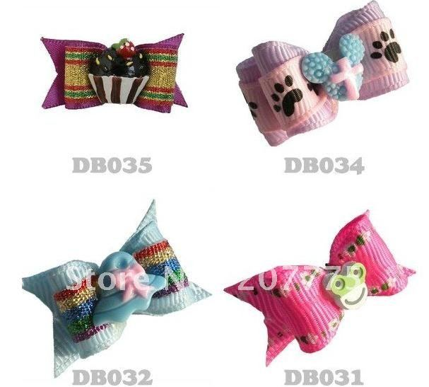 Pet Dog Accessories Super cute Fa Ribbon Bow DB034. Dog Hair flower / Dog Bandana / Handmade / EMS FREE!(China (Mainland))