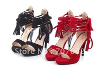 Free shipping Soft Leather Upper Open-toe lady sandals with two color Black / Red Pumps S200