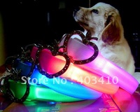 Free DHL Shipping 20pcs/lot led flashing dog collar with crystal diamond