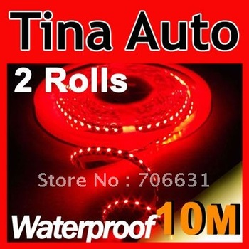 2 Rolls Red 5M 500CM 3528 SMD Flexible Led Strip Light 300Leds