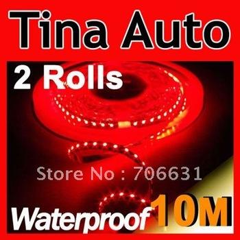 2 Rolls Red 5M 500CM 3528 SMD Flexible Led Strip Light 300Leds