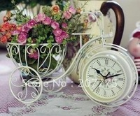 European creative home, Iron Bicycle-sided clock, desktop clock clock quiet, with flower holder Free Shipping