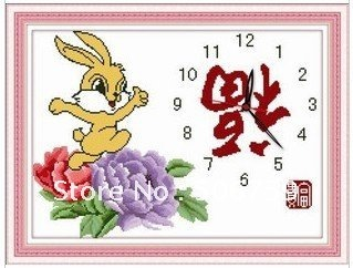 free shipping  Cute bunny rabbit cross stitch gold watches series of new cell wall clock kit sent to happiness  1pcs