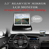 "Hongkong post free shipping 3.5inch 3.5"" TFT LCD Color Camera Rearview Mirror Car Monitor (CL-350NC)"
