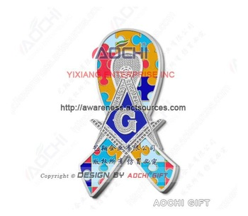 Free Shipping Newest High Quality Autism Awareness Masonic Square and Compass Jigsaw Puzzle Ribbon Lapel Pins