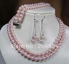free shipping Pink 8mm shell pearl necklace bracelet earring set  fashion jewelry set