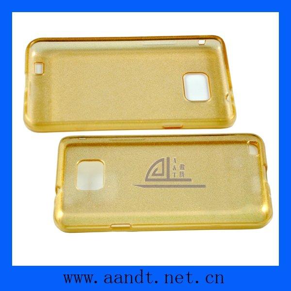 Free Shipping 5pcs/lot Golden TPU Case For Samsung Galaxy S II/S2 i9100 TPU Skin Cover Case(China (Mainland))