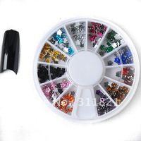 Free shipping 12 color Rhinestone Nail Art Decoration white Glitter Rhinestone+Wheel whole sale price