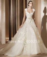 wholesale and retail hot ivory cap sleeves wedding dress&free shipping many size