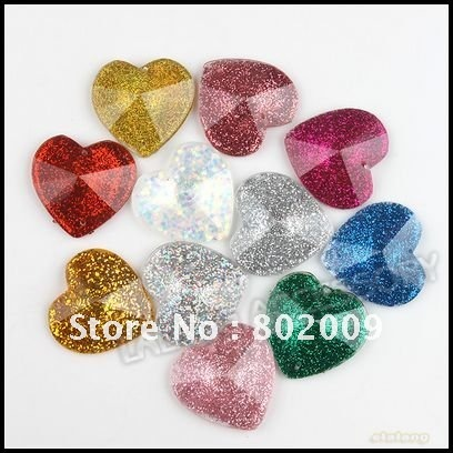 900pcs/lot Wholesale Mixed Colorful Heart Faceted Stick-on Flatback Rhinestones Embellishments 10mm 24800