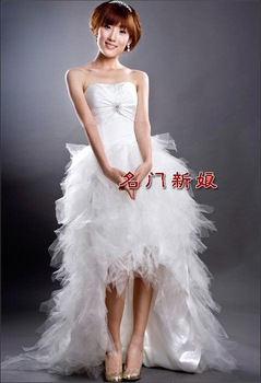 2013 high quality high quality wedding dress floor length bridal dress court train sleeveless strapless1016