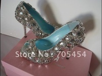 BS165 Free shipping high heel full crystals evening shoes diamond shoes party shoes