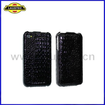 hot sell 100pcs/lot Crocodile Genuine PU Leather CASE FOR iPhone 4 4G Black +DHL free shipping