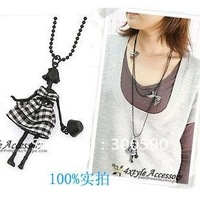 New arrival !  dancing girl bowknot double long necklace  . multilayer  sweater chains .30pcs/lot.free shipping