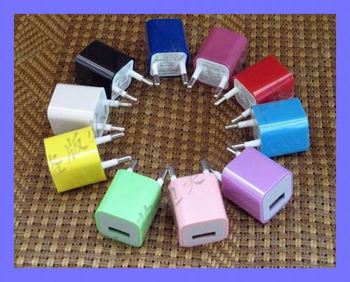 50pcs/lot free shipping Colorful EU Wall Charger For i Phone 4, 3G, 3GS, i Pod(China (Mainland))