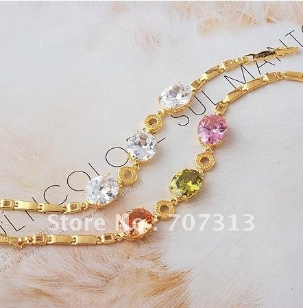 fashion bracelet jewelry 18k yellow gold filled dignity zircon bracelet jewellry jewelry gift chain bracelet(China (Mainland))