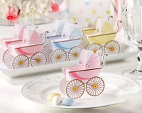 Free shipping of  Baby shower favor box 50pcs/lot --baby carriage favor box in pink and blue color