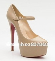 2014 Nude women high heel shoes,double platform high quality ladies shoes(14cm height)