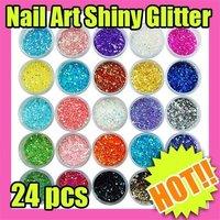 Fast & Free Shipping 24 pcs Nail art Mini Round Glitter Sheets Decoration S170