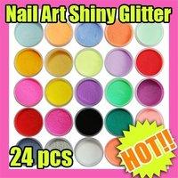 Fast & Free Shipping  24 pcs Acrylic Powder Dust Nail Art Decoration New S169