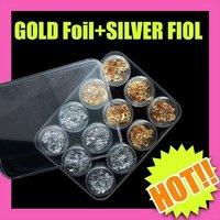 Fast & Free Shipping 5 sets x 12 pcs gold silver foil paillette nail art DIY makeup S058