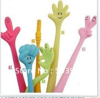 free shipping! 35pcs/lot,6 kinds of style,Can bending fingers modelling pen/gestures pen ball-point pen, color random