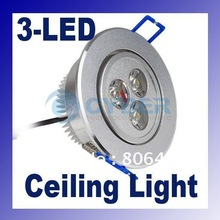 3W LED Ceiling Light Down Recessed Lamp Warm White 85~265V Free Shipping(China (Mainland))
