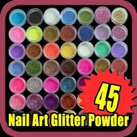 Fast & Free Shipping 45 pcs nail art glitter powder dust tips decoration S040