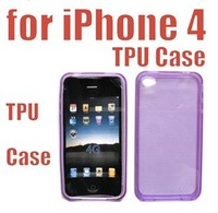 Wholesale - 100pcs/lot FREE SHIPPING NEW Brand TPU Silicone Case Skin Cover For iPhone 4 (color: purple)  free shipping