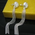 Promotion Free shipping 925 earrings wholesale fashion drop earrings 925 silver lovely rose flower style earrings jewelry E048