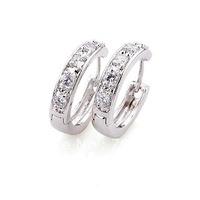 free shipping ! women vogue hoop earrings 18k white gold filled dignity zircon hoop stud earrings jewelry jewrllry gift