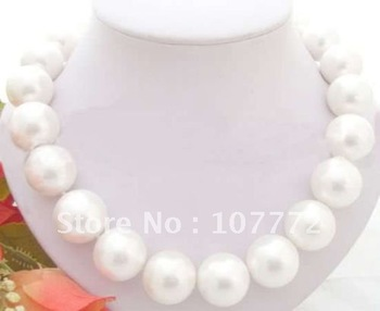 Rare Huge 20mm White Sea Shell Pearl Necklace +free shippment