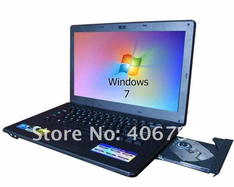 UPS free Shipping,14.1 inch Intel D525 Dual-core,Windows xp or win 7,Built-in CD driver,1.3 Mega Pixels Camera,Portable computer(China (Mainland))