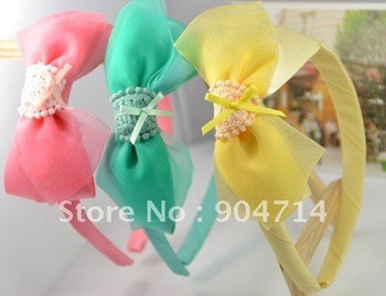 2011 new,chlidren bow flower hair bands/ lace flower crown kids headband/kids headdress/children hair loop hair pin wholesale
